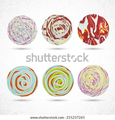 6 circles made with paint, brush and squeeze bottle. Highly textured with strokes. Rounded colored shapes on white, grunge background. Handmade. Vector illustration design element 10 eps. - stock vector