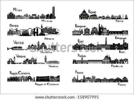10 cities of Italy  - silhouette sights of Milan, Genoa, Venice, Verona, Reggio Calabria, Rome, Bergamo, Bari, Padua, Parma - stock vector