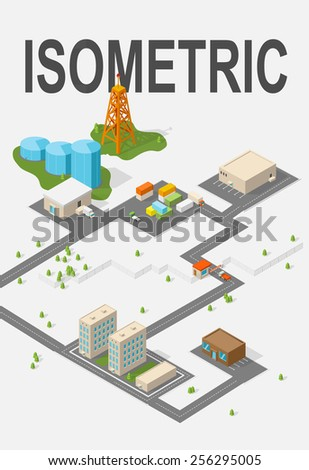 City. Isometric buildings illustration. Vector - stock vector