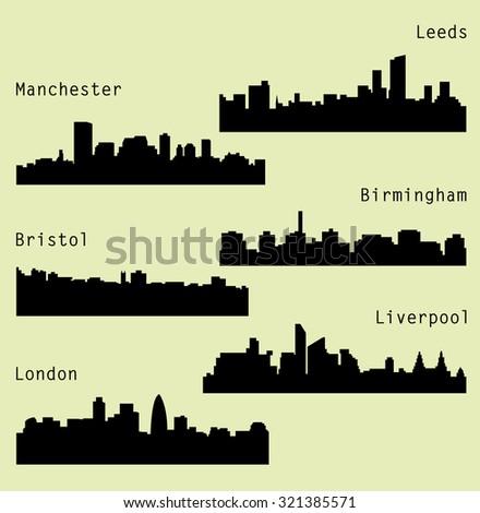 6 city silhouette in England (London, Leeds, Liverpool, Birmingham, Bristol, Manchester)  - stock vector