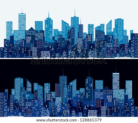 city skylines in two blue versions - stock vector