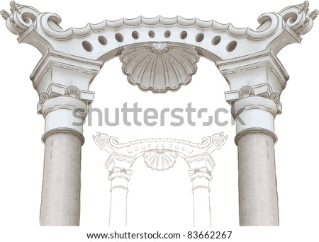 classic arch and columns sketch - stock vector