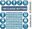 100 classic glossy cirlce blue buttons, icons, signs, vector illustrations - stock vector