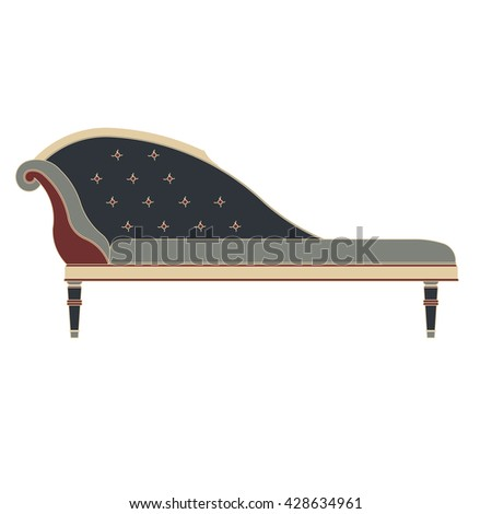 classic sofa side view flat icon in vintage color theme illustration object - stock vector