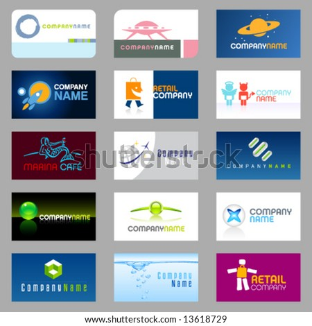 15 clean vector, easy to edit, business cards and logos - stock vector