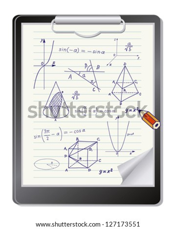 Clipboard with mathematics geometric shapes and expressions sketches - stock vector