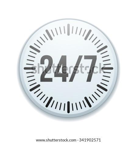 24/7 Clock button - stock vector
