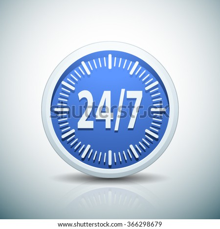 24/7 Clock button - stock vector