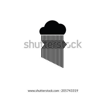 Cloud and rain. Abstract vector icon. - stock vector