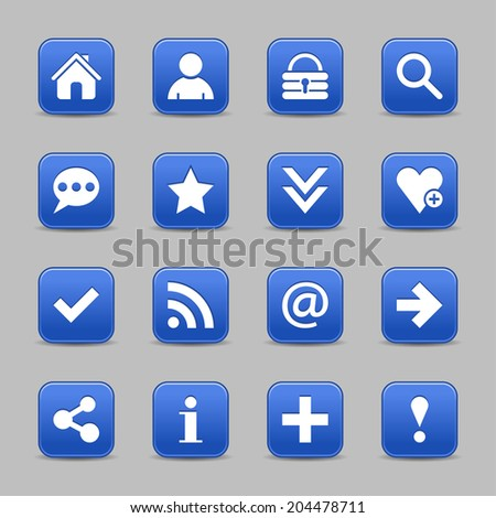 16 cobalt satin icon with white basic sign on rounded square web button with black shadow on gray background. Vector illustration internet design element save in 8 eps - stock vector