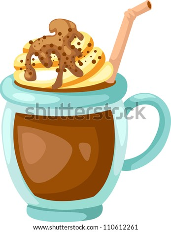Cocoa with whipped cream cup vector - stock vector