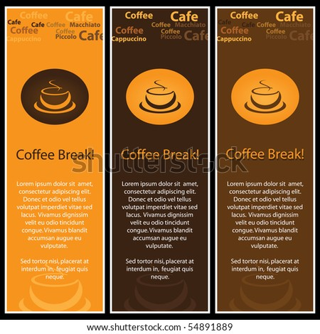 3 coffee banners - stock vector