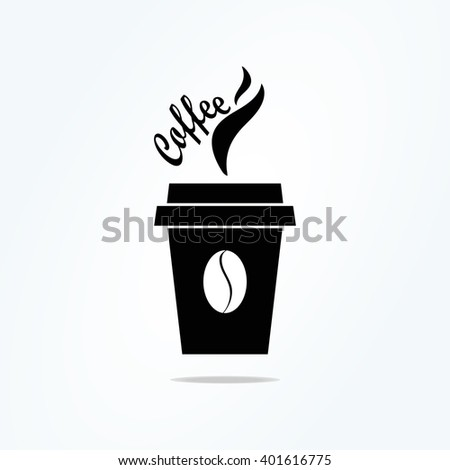 coffee cup icon with coffee beans, Vector illustratio - stock vector