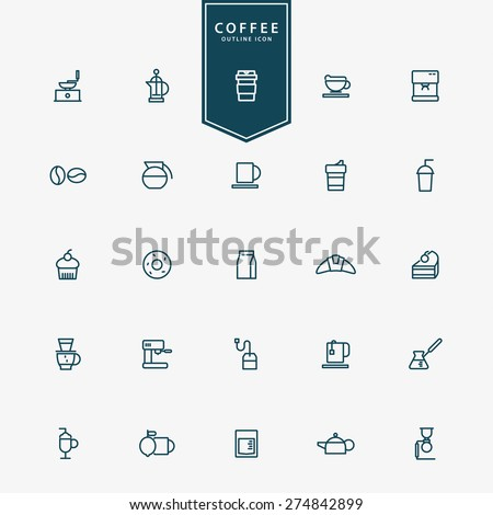 25 coffee minimal line icons vector - stock vector