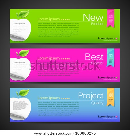 Collection Apple design colorful banner background. vector illustration - stock vector