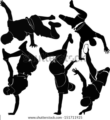 collection breakdance silhouette break dance - stock vector