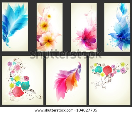 Collection of design elements . floral elements background. - stock vector