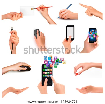 Collection of hands holding different business objects. Vector illustration - stock vector