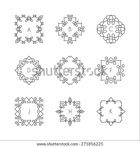 Collection of monochrome monogram design templates. Floral logo design element. Elegant ornamental abstract vector illustration. Outline emblems and badges. Hipster logotype templates. 