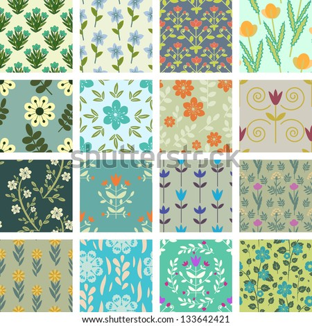 Collection of seamless floral patterns - stock vector