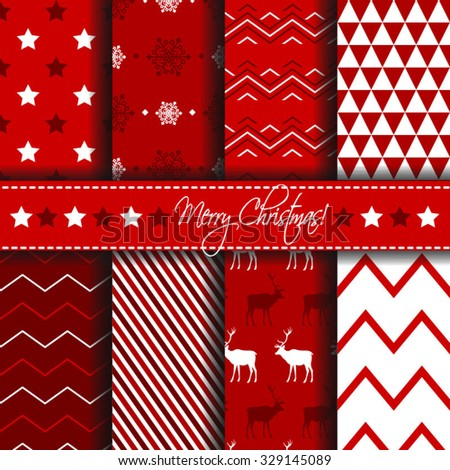 Collection of seamless patterns with red and white colors. Merry Christmas and Happy New Year set of winter holiday backgrounds. Vector illustration. Vector seamless pattern - stock vector