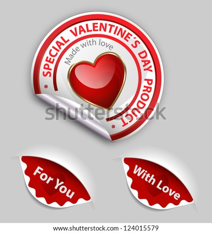 Collection of Valentine�´s day special sale product labels - stock vector