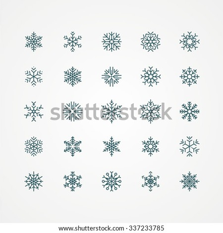 Collection of vector snowflakes, black snowflakes on a white background - stock vector
