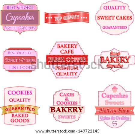 Collection of vintage bakery logo badges and labels - stock vector
