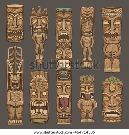 Tiki stock images royalty free images vectors shutterstock collection of wooden tiki idols beautiful color illustration stopboris Images