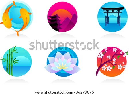 collection of Zen / Asian icons - vector illustration - stock vector