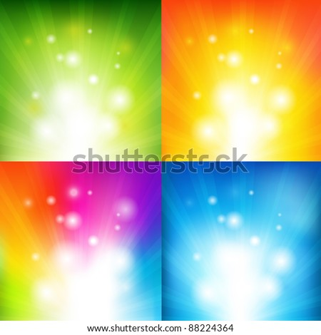 4 Color Backgrounds With Beams, Vector Illustration