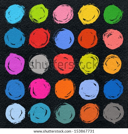 25 color circle form brush stroke on black watercolor texture paper background. Drawing created in ink sketch handmade technique. Vector illustration design element save in 10 eps - stock vector