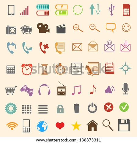 56 color mobile icons - stock vector