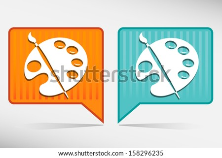 Color palette and artistic brush. Orange and blue pointer - stock vector