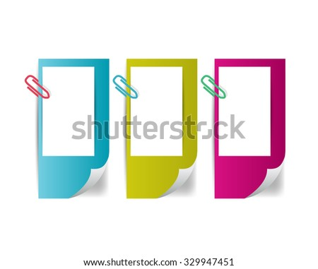 3 Color paper stickers. Vector. - stock vector
