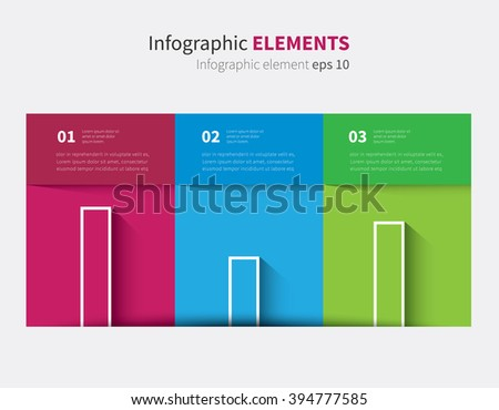 3 color table with shadow and graph with 3 options / vector infographic table with diagram - stock vector