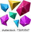 .Color variation of Polygonal vivid pyramid. Vector EPS8.. - stock vector