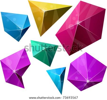 .Color variation of Polygonal vivid pyramid. Vector EPS8.. - stock vector