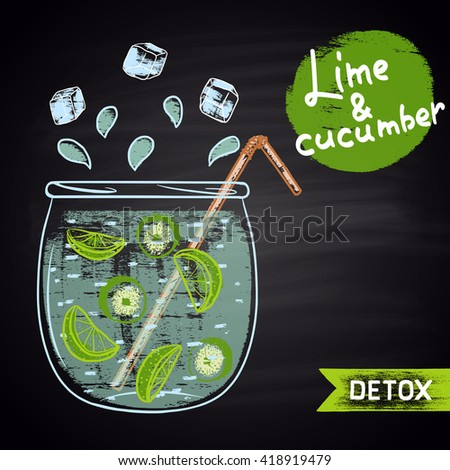 Colored chalk drawn illustration of jar with infused water. Lime and cucumber flavor. Detox and fitness theme. Healthy drink. - stock vector