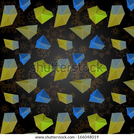colorful abstract polygonal pattern over dark grunge background. Vector, EPS 10  - stock vector