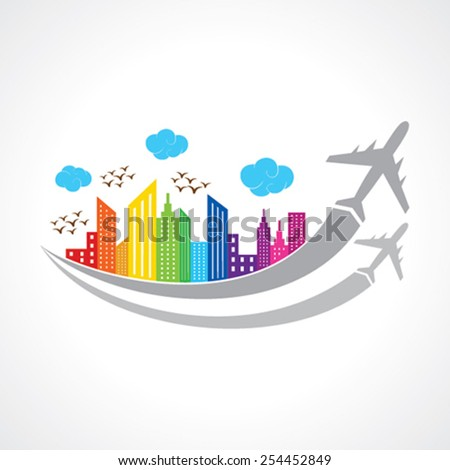 Colorful background with city and airplanes. vector illustration - stock vector