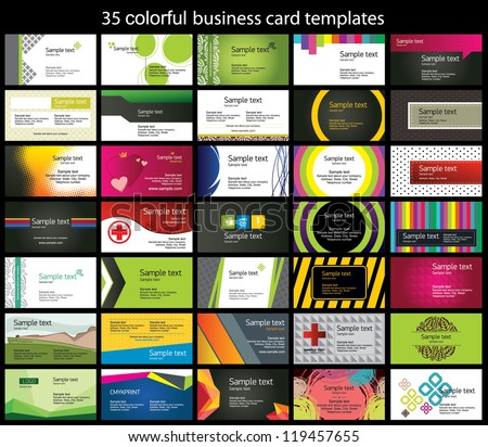 35 colorful business card template - stock vector