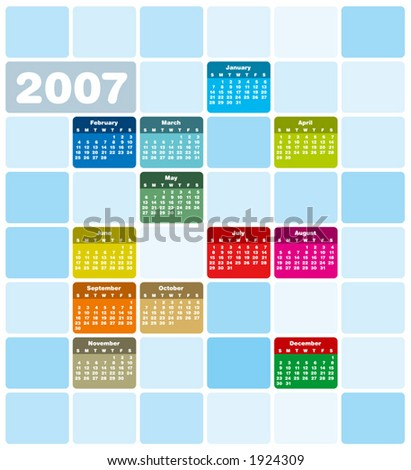 2007 Colorful Calendar (Type is both as fonts and as curves) - stock vector