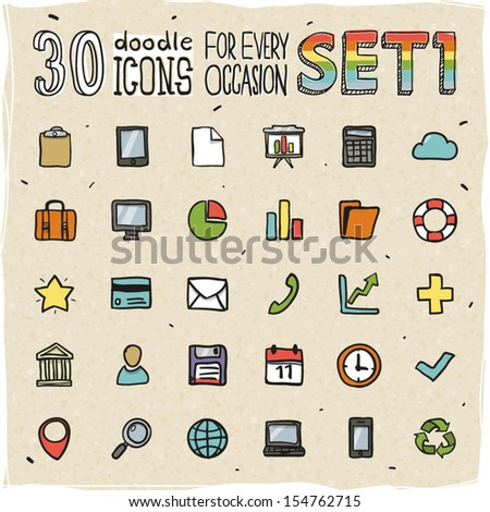 30 Colorful Doodle Icons Set 1 - stock vector