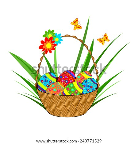 colorful Easter egg in a basket,grass,flower and butterfly on a white background, vector - stock vector