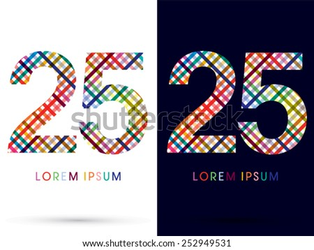 25 ,colorful font ,designed using colors line on white and black background, concept wicker,basket ,woven, ribbons,happy,fun,fantasy,logo, symbol, icon, graphic, vector. - stock vector