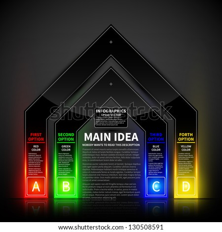 4 colorful glowing options in the form of the gate. Useful for presentations and advertising. - stock vector