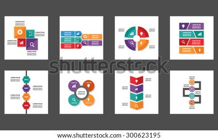 8 colorful Infographic Element Multipurpose Presentation Template Brochure flyer Flat design Set - stock vector