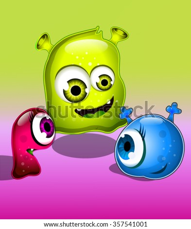 3 Colorful Jelly Monsters Illustration - stock vector