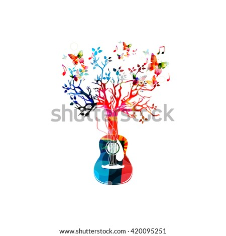 Colorful music background with guitar tree and butterflies - stock vector